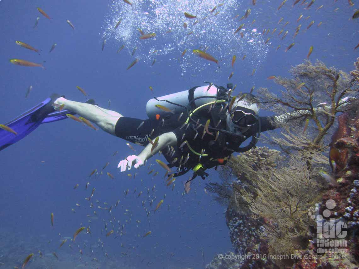Flying along underwater during a PADI Drift Diver Course with Indepth on Phuket