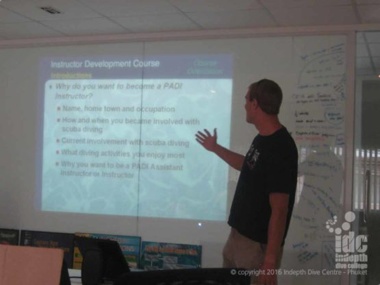 PADI Instructor Course candidate Tom giving his first IDC classroom presentation, and very well he did too!