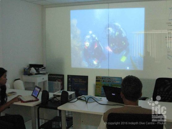Indepth Dive Centre Phuket IDC Classroom complete with projector and glass wall