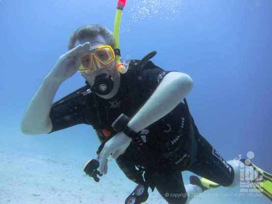 Diver happy with his navigation on his dive with Indepth on Phuket