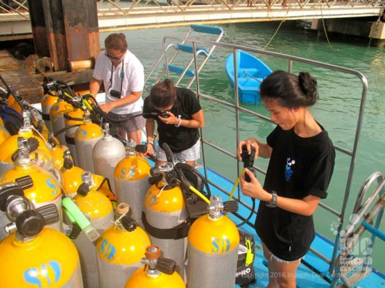 PADI Open Water Course students putting their equipment together