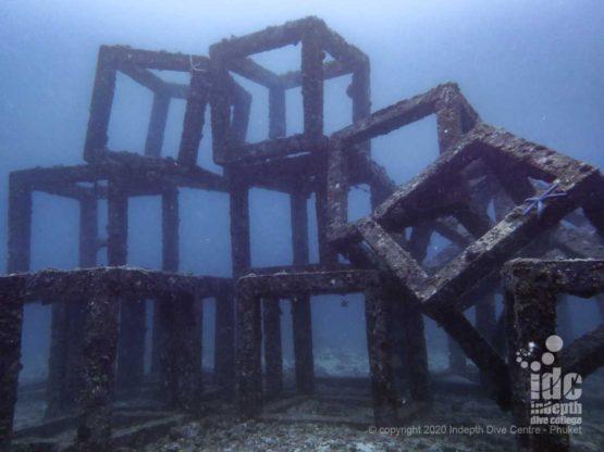 Artificial Reef cubes in Bungalow Bay dive site Racha Yai