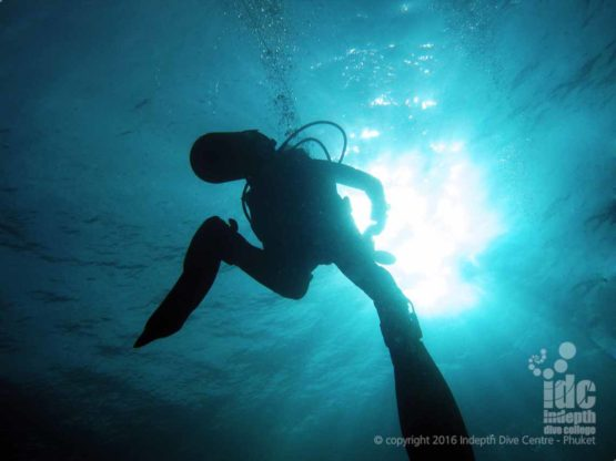 Ascending from a 40m dive on a PADI Deep Diver Course