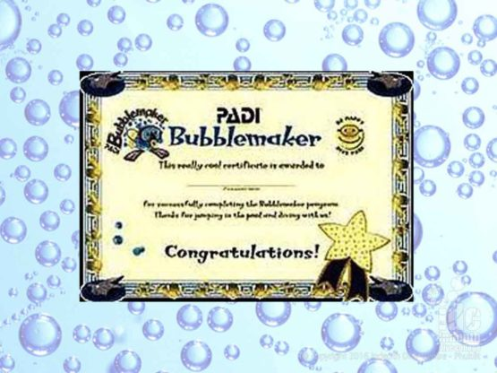 PADI Bubblemaker Certificate for all your scuba diving kids