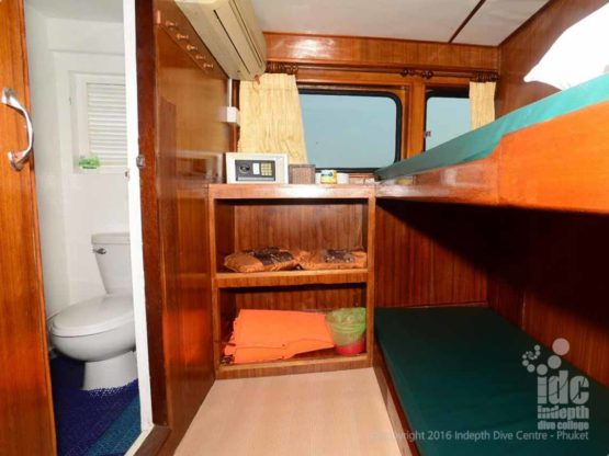 A nice simple bunk bed cabiin on Andaman Tritan Liveaboard