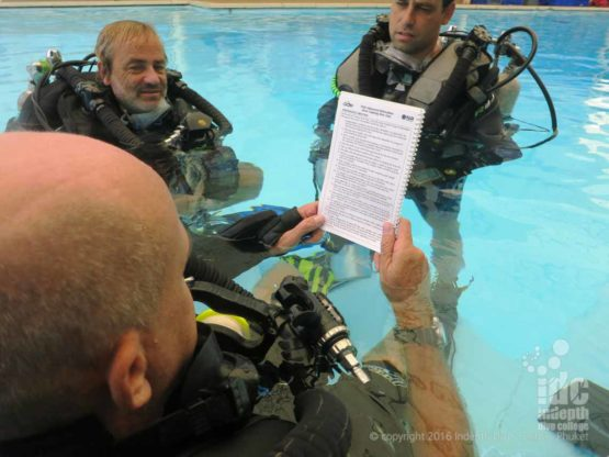 Chris Owen briefing a PADI Poseidon Rebreather Instructor Course