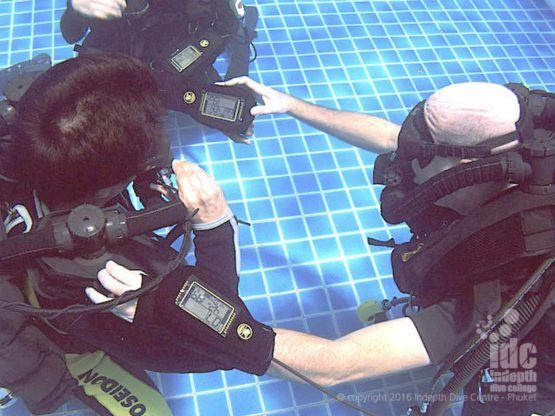 PADI Course Director Chris Owen teaching a Poseidon Rebreather Instructor Course with Indepth on Phuket