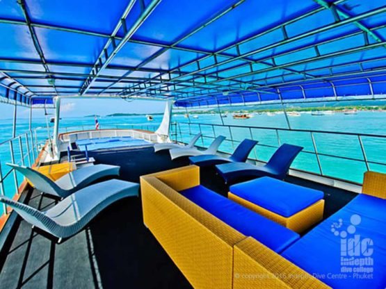 Deep Andaman Queen Liveaboard sunlounge on the top deck