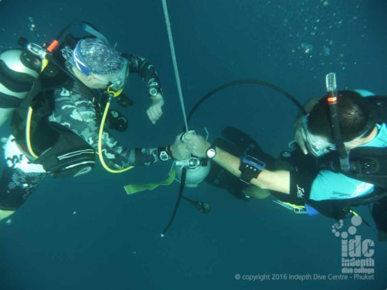 PADI Deep Specialty Instructor course divers on their simulated Emergency Deco Stop