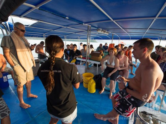 Phuket Dive Trip on Boat 1 enjoyinig a relaxed Dive Boat Briefing on Indepth Boat 1
