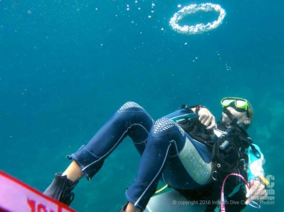 Dive Guide being cool on scuba at Fan Forest Pinnacle Burma