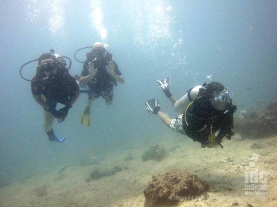 Divemaster guiding certified divers at Racha Yai Island