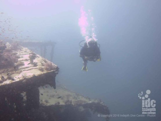Divver having some Phuket Wreck Diving FUN!