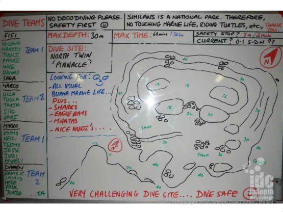 Dive Spot Brifing using a Map at Burma Twin Cheeks