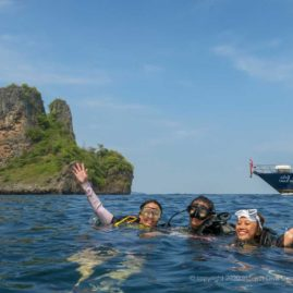Happy divers at Koh Bida Nai - beautiful landscape