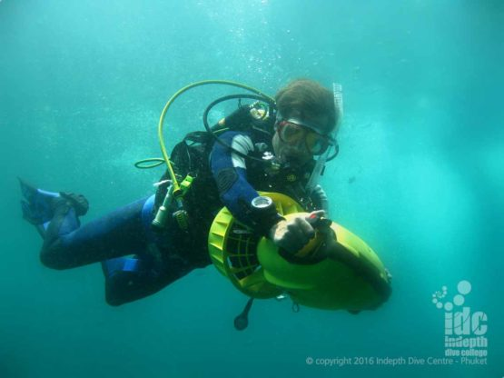 DPV diver during his PADI MSD program on Phuket