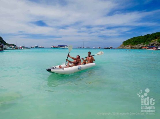On Indepth Day Trip Boat 4 you have free use of kayaks during your Phuket Dive Tour