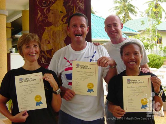 Happy PADI instructors just passed their exams
