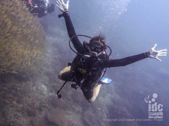 Happy diver at Hin Daeng
