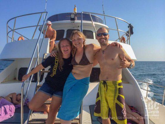 Happy divers after a dive at Marita's Rock Racha Noi