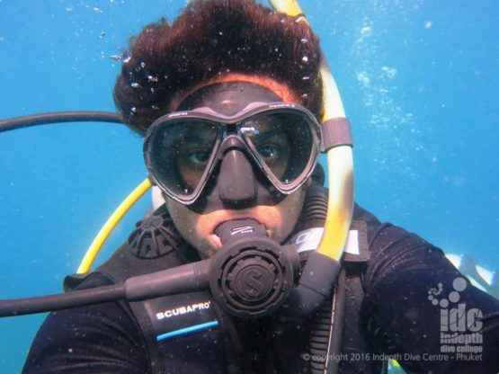 New PADI diver taking a selfie with Indepth Phuket