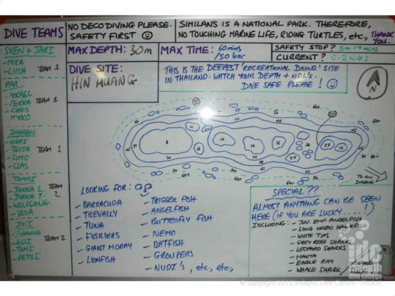 Hin Muang dive site map for the dive briefing