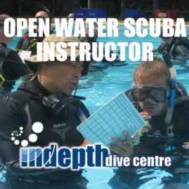 PADI Open Water Scuba Instructor Candidate getting his Confined Water Presentation graded