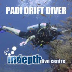 PADI Drift Diver student flying along underwater during his Drift Diver Course with Indepth