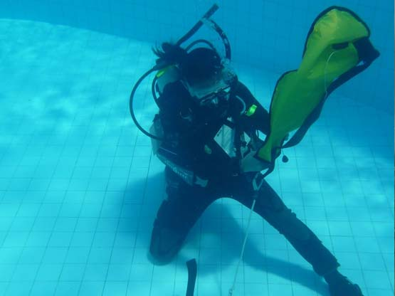 IDC Training facilities: our 5m deep scuba diving training pool on Phuket, Thailand