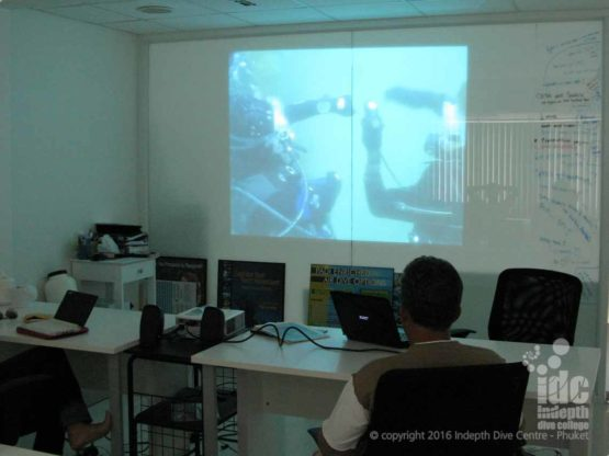 Our Indepth Dive Centre OWSI program classroom with PADI DVD playing