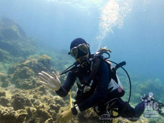 Happy diver at Turtle Wall - Diving Phi Phi islands