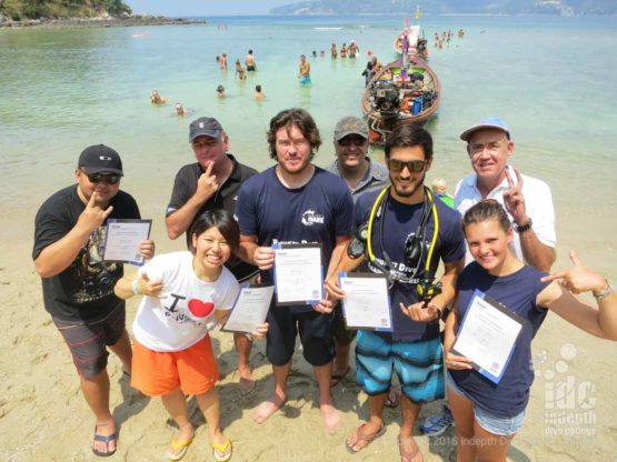 New PADI instructors relaxing after the Phuket IE