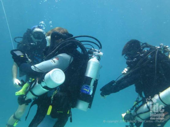 PADI Deep Specialty Student on his Poseidon Rebreather on his course with Indepth Phuket