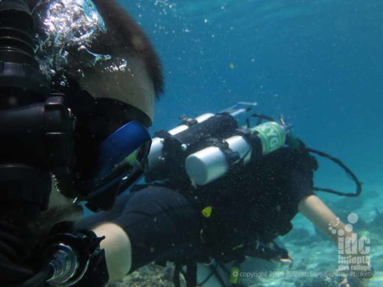 PADI Divemaster diving on a Poseidon Rebreather on Phuket