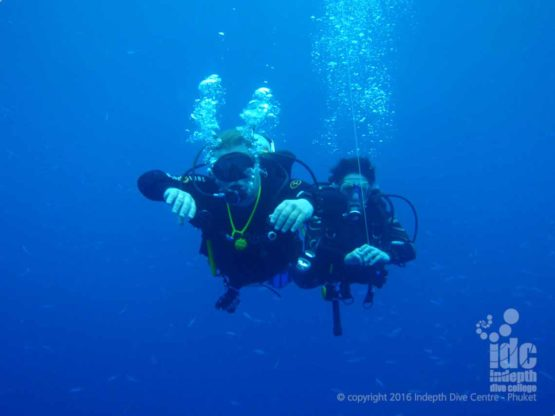 On a Phuket scuba dive gliding along in the current on a great day's diving