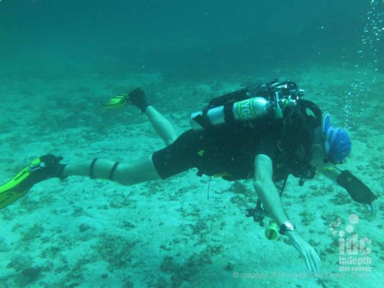 Poseidon Rebreather Diver practicing Bouyancy Control at Kata Beach House Reef