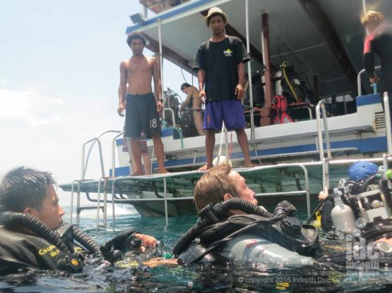 Poseidon Rebreather Divers enjoying some silent bubble-free Phuket Scuba Diving with Indepth