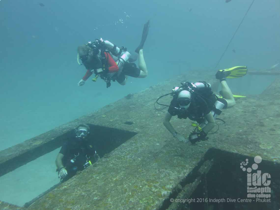 MSDT Rebreather Divers taking their Wreck Specialty Instructor Course with Indepth Phuket