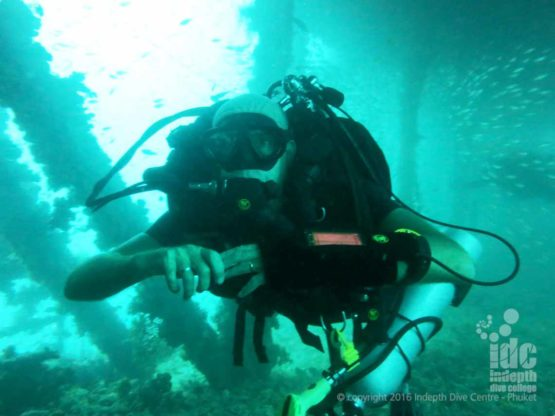 Poseidon Rebreather diver on the King Cruiser wreck on Phuket
