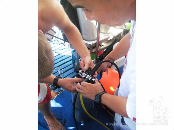 Rigging a Drop Tank for the Deep Dive at Ko Dok Mai