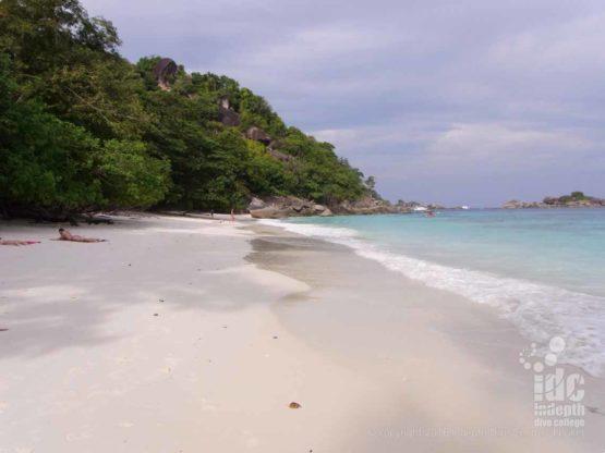 Beautiful sandy beach at Honeymoon Bay in The Similan Islands