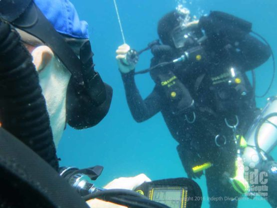 Divers in The Simlans on Poseidon Rebreathers doing a Safety Stop