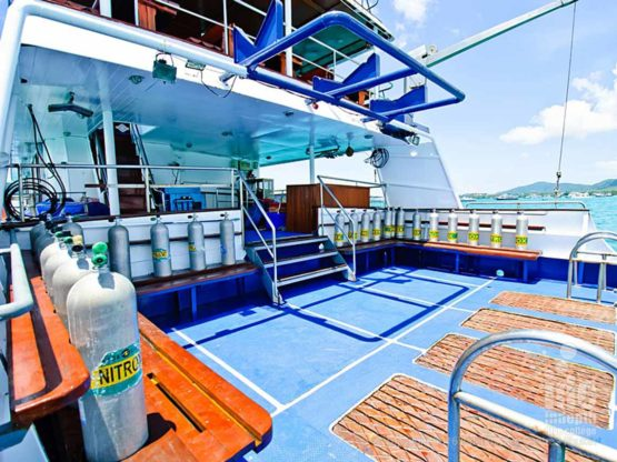 Huge dive deck on Deep Andaman Queen Liveaboard