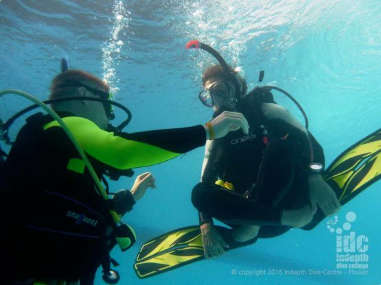 Skill demonsration of Hovering on a PADI Open Water Diver Course with Indepth on Phuket