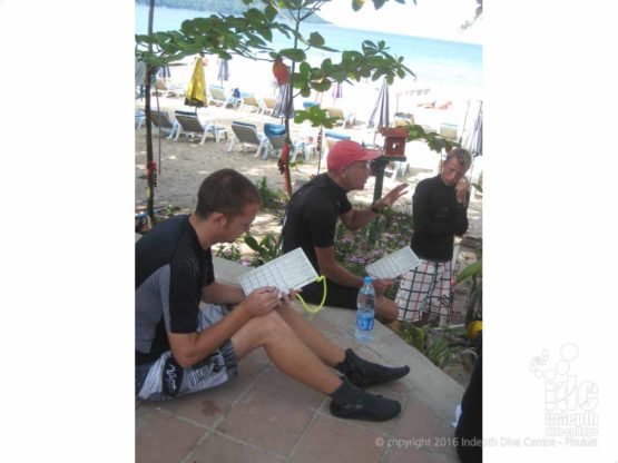 IDC Staff grading an Open Water Briefings on Kata Beach