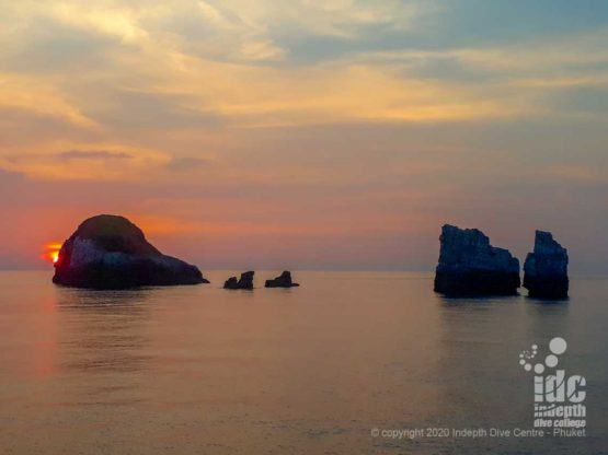 Stunning sunset at Western Rocky Dive Site in Myanmar