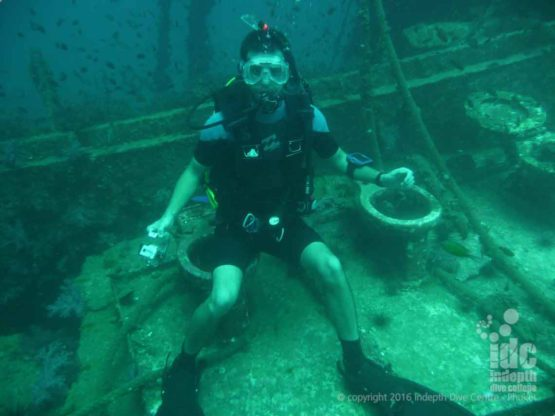 Phuket Wreck Diving: if you'd like to have your picture taken whilst sitting on a toilet at 23m