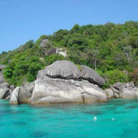 Turtle Rock seen from the surface on an Indepth Dive Centre Similans Liveaboard