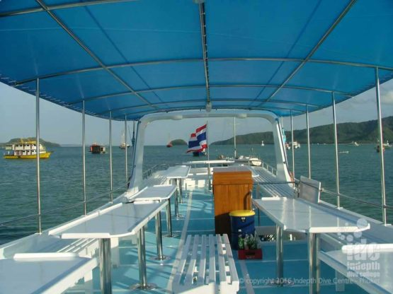Upper deck on a Phuket day trip dive boat