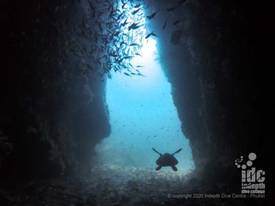 """The entrance of the popular """"lobster cave"""" at Western Rocky Dive Site - Burma Diving Liveaboard"""